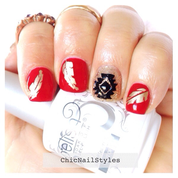 I used all Gelish for this look: Hot Rod Red, Golden Treasure, Crown Jewels