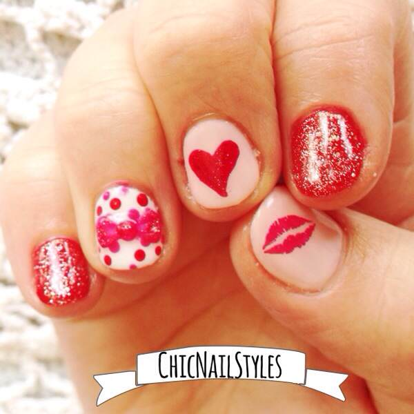 I used Gelish Pink Smoothie, Hot Rod Red, and June Bride as well as OPI Alpine Snow and Pink Flamenco.
