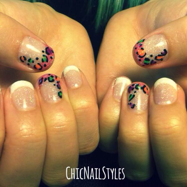 We did the thumb and ring a pink french and then added the neon leopard spots on this French twist :)