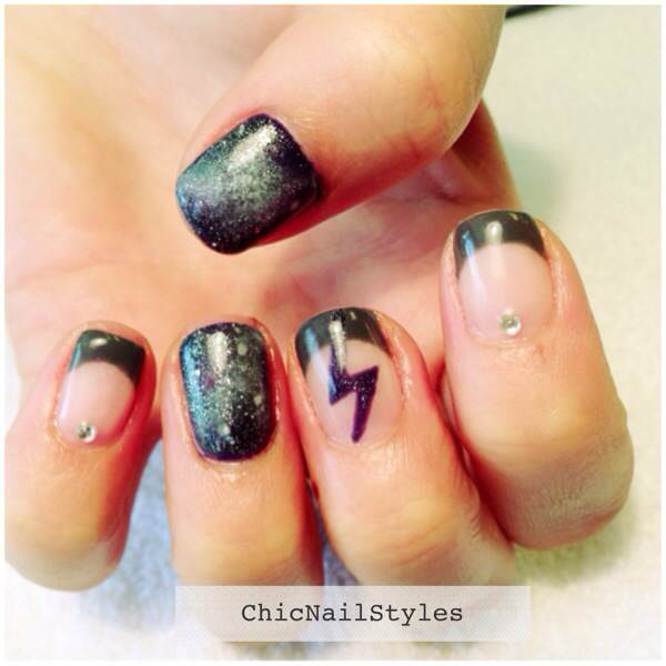 Here's a Galaxy nails French mani--I love how these turned out. I used Gelish Jet Set for the tips.