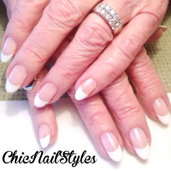 These are Dena's beautiful natural nails with a gel polish French manicure. Her nails are seriously perfect!