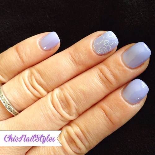 Lavender and White Gel Mani