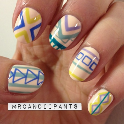 I love tribal and pastel combined and it's easier than it looks! Click on picture for detailed instructions.