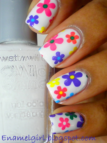 Enamel Girl calls this flower power! These are actually done with flower nail foils!