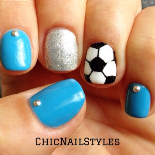 Does painting a soccer ball on my nails make me a soccer mom? :) - Soccer Nails - Chic Nail Styles