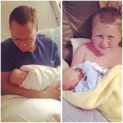 Here's daddy and brother holding Oliver when he was brand new :)
