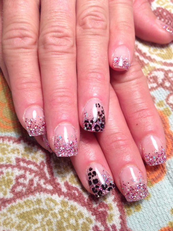Sculpted Gel Nails with Cheetah and Glitter